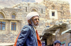 Portrait of old senior man with the typical yemenite dress. SANAA, YEMEN - JUNE 30, 1991: portrait of old senior man with the typical yemenite dress, The turban Stock Image