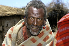 Portrait of old, sick, Masai man. Kenya, Masai Mara, village Narooswa: closeup of Maasai in traditional costume with colorful beads earrings and large holes in Royalty Free Stock Image