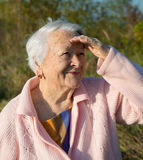 Portrait of old smiling woman Stock Image