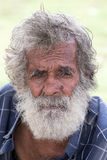 Portrait old Sri Lankan beggar man, close up Stock Images