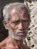 Portrait old Sri Lankan beggar man Stock Photos