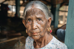 Portrait of old tattooed woman, Myanmar Royalty Free Stock Photos