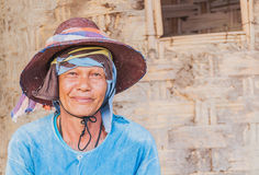 Portrait of old Thai farmer in a rural area. Royalty Free Stock Images