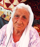 Portrait of an old village woman stock photos
