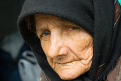 Portrait of an old woman stock photos