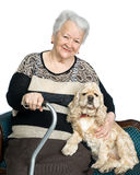 Portrait of an old woman with american spaniel Stock Photo
