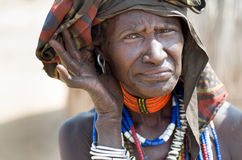 Portrait of old woman from Arbore tribe, Ethiopia. ARBORE, ETHIOPIA, 13 AUGUST:unidentified old woman from Arbore tribe in Arbore, Ethiopia, on 13 august 2014 Royalty Free Stock Image
