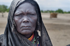 Portrait of old woman from Arbore tribe, Ethiopia. ARBORE, ETHIOPIA, 13 AUGUST:unidentified old woman from Arbore tribe in Arbore, Ethiopia, on 13 august 2014 Stock Image