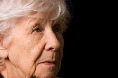 Portrait of the old woman a black Stock Photos