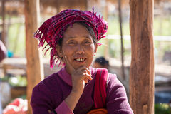 Portrait old woman on her smile face. Inle lake, Myanmar Royalty Free Stock Images