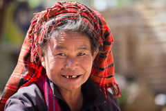 Portrait old woman on her smile face. Inle lake, Myanmar Royalty Free Stock Photos
