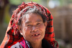 Portrait old woman on her smile face. Inle lake, Myanmar Stock Photography