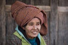 Portrait old woman. Inle lake, Myanmar Stock Photo