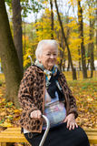 Portrait of old woman. Sitting on a bench  in autumn park Stock Photos