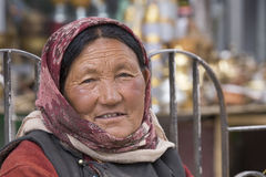 Portrait old woman on the street in Leh, Ladakh. India Royalty Free Stock Photo