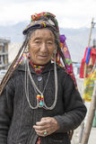 Portrait old woman on the street in Leh, Ladakh. India Royalty Free Stock Photos
