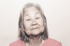 Portrait of a old woman with white hair Royalty Free Stock Photos