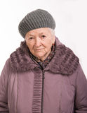 Portrait of  old woman in winter outwear Stock Photography