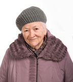 Portrait of  old woman in winter outwear Royalty Free Stock Photo