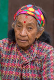 Portrait old women in traditional dress in street Kathmandu, Nepal Stock Photos