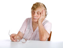 Portrait old women on a white Stock Photo