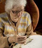 Portrait of an older woman needlepoint Stock Photos
