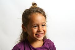 Free Portrait On White Background Of A 4 Year Old Italian Girl Looking Sideways Stock Image - 163859281