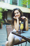 Portrait of one beautiful girl with a drink Royalty Free Stock Images