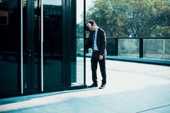 Portrait of one depressed manager in trouble royalty free stock photos