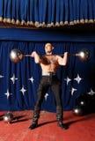 Portrait of one-eyed circus athlete. Photo Stock Photo