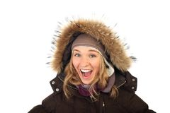 Portrait of one happy frozen  woman in winter coat Royalty Free Stock Photo