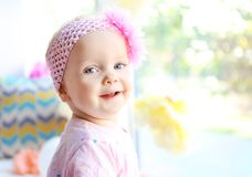 Portrait of one year-old baby girl stock photos