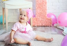 Portrait of one year-old baby girl stock photography