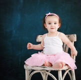 Portrait of the one year old baby wearing ballet suit Royalty Free Stock Photo