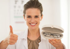 Portrait of ophthalmologist doctor woman with Stock Photos