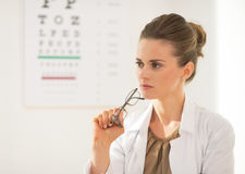 Portrait of ophthalmologist doctor woman Stock Images