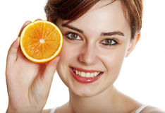 Portrait with an orange - helthy concept Royalty Free Stock Images