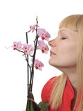 Portrait with orchid stock photography