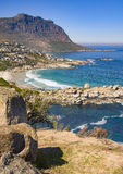 Portrait-orientated view of the Cape Peninsula mountains and the Atlantic Ocean from Llandudno on the Cape Peninsula, South Africa Stock Photos