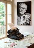 Portrait and original typewriter in Herman Hesse museum Royalty Free Stock Photo