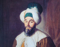 Portrait of Ottoman official - painting created in 1742 Royalty Free Stock Photo