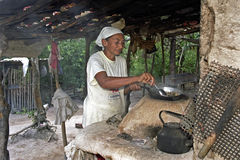 Portrait of outdoor cooking senior woman, Brazil Royalty Free Stock Photo