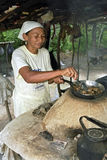 Portrait of outdoor cooking senior woman, Brazil Royalty Free Stock Image