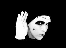 Portrait of  overhearing mime in white gloves Stock Photos