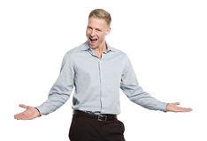 Portrait of enthusiastic young businessman. Stock Image