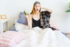 Girl is overslept. A portrait of an overslept girl in the morning Stock Photos