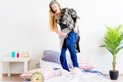 Girl is overslept. A portrait of an overslept girl in the morning Royalty Free Stock Photo
