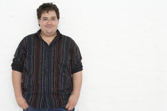 Portrait Of Overweight Young Man Stock Photo