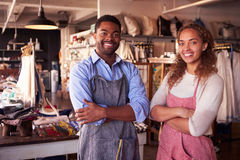 Portrait Of Owners Standing In Gift Store Royalty Free Stock Photography