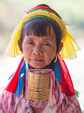 Portrait padaung tribe long necked tribe woman. Inle lake, Myanmar, Burma. Close up Stock Photos